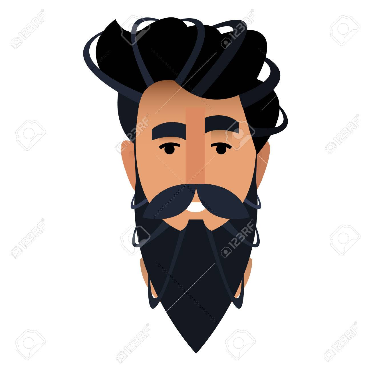 Caricature Homme caricature de portrait d'un homme barbu dans un salon de coiffure