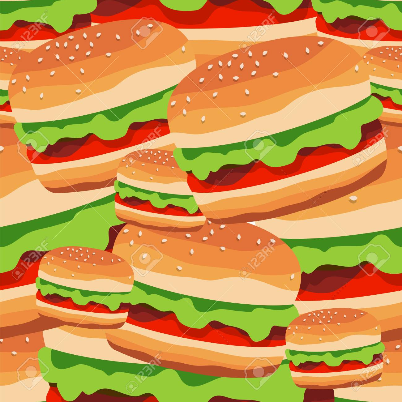 Seamless Pattern Of The Burgers Vector Illustration Fast Food For A Wallpaper Design Or