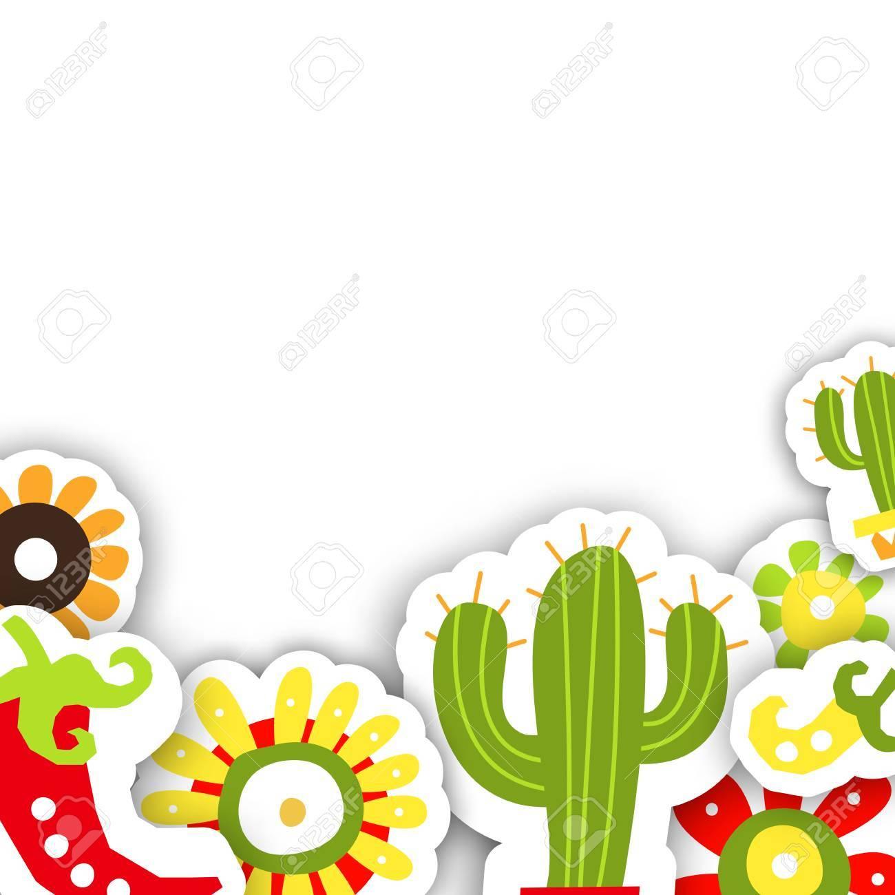Plantilla De Marco Para La Fiesta Tradicional Mexicana Cinco De Mayo Ilustración Del Vector Para El Diseño De Tarjetas O Invitaciones
