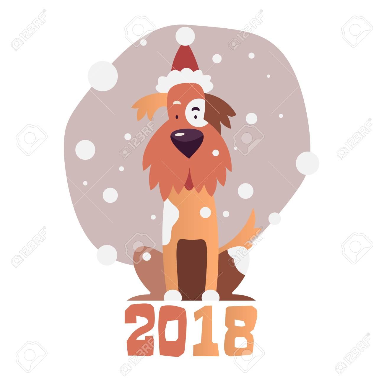 dessin animé pere noel 2018 Chien Jaune Symbole De La Nouvelle Année 2018. Chien De Dessin  dessin animé pere noel 2018