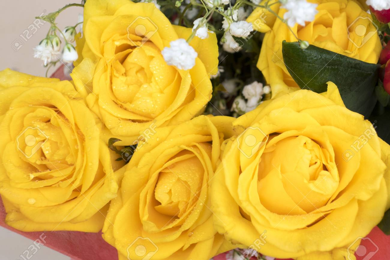A Beautiful Bouquet Of Yellow Rose And Small White Flowers Foto