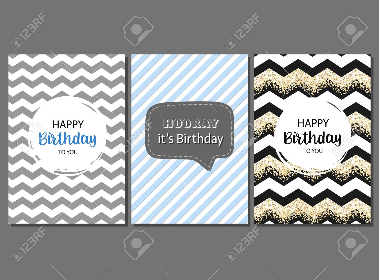 Set Of Birthday Cards For Male Celebrant With Geometric Stripes And Cute Pattern Stock Vector