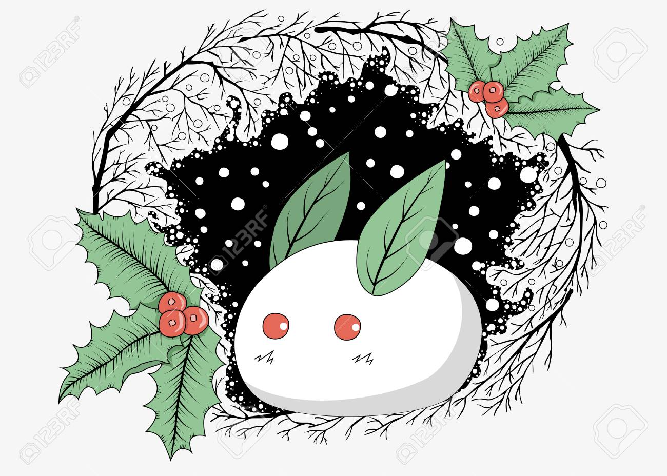 Ein Süßer Weißer Hase Aus Schnee Mit Blättern Und Holly Beeren