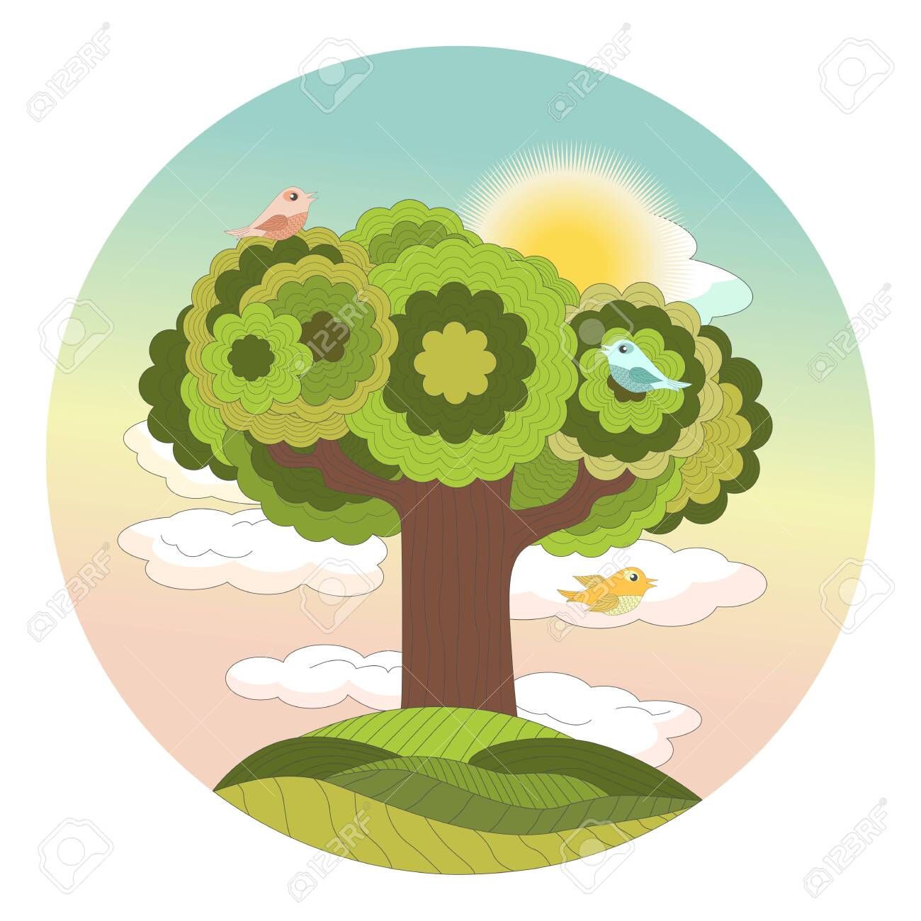 Sunrise Dawn In The Forest Above A Tree On A Hill With Tweeting Royalty Free Cliparts Vectors And Stock Illustration Image 130599030 ✓ free for commercial use ✓ high quality images. sunrise dawn in the forest above a tree on a hill with tweeting