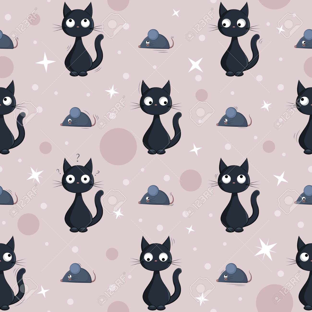 Seamless Background With Cute Cartoon Black Cats And Mouses Royalty Free Cliparts Vectors And Stock Illustration Image 137153349