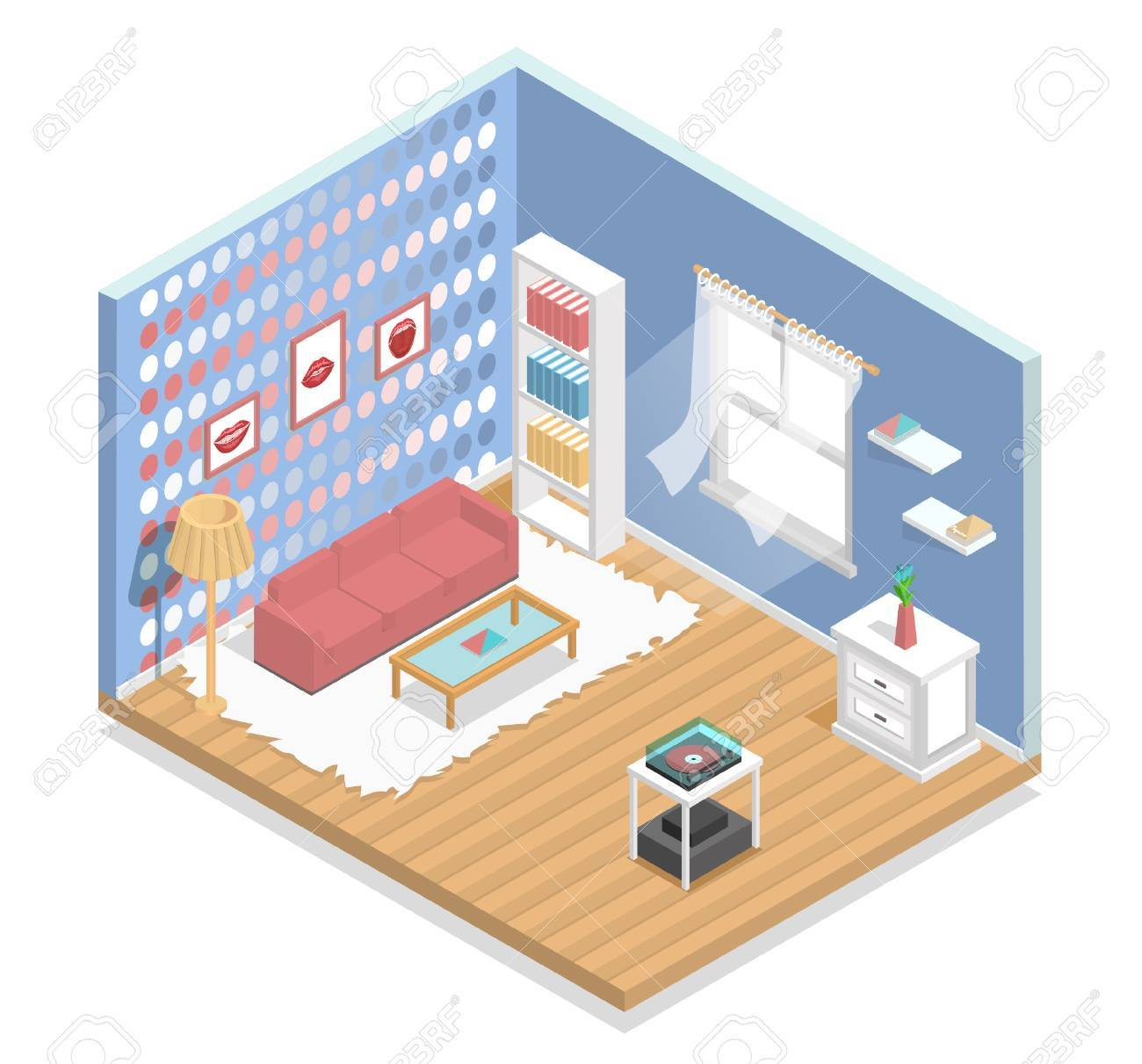 Interieur, Isometrisch, Wohnzimmer, Zimmer, Mode, Möbel Lizenzfrei ...