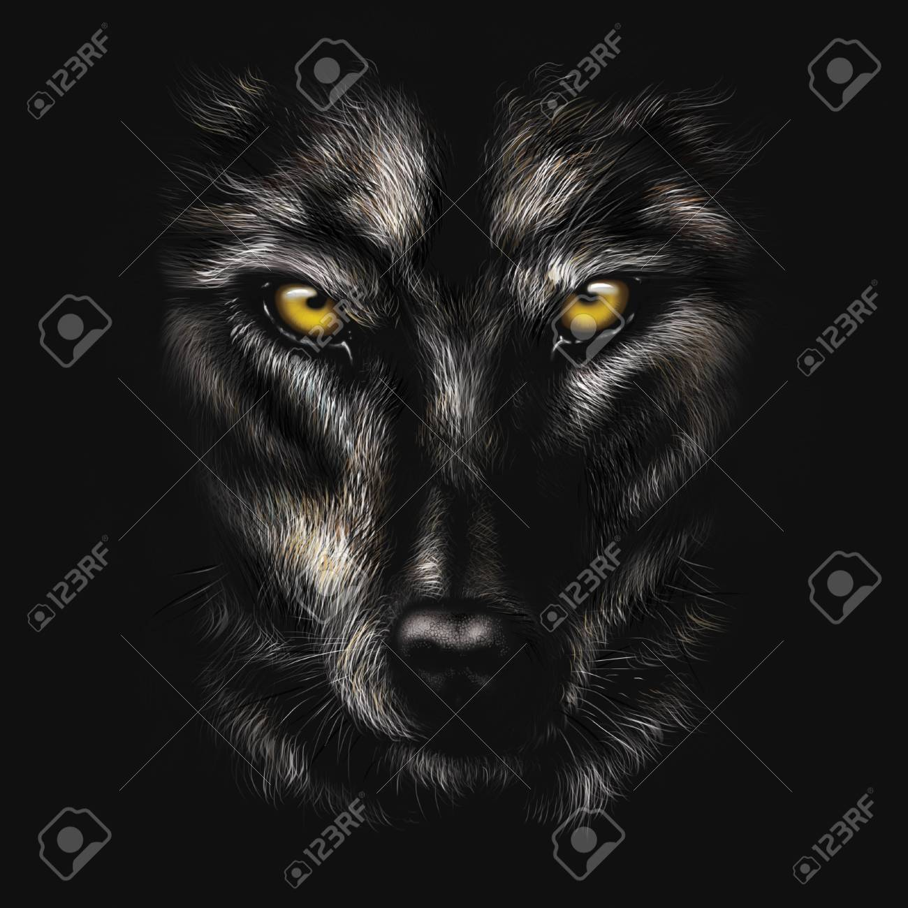 hand drawing portrait of a black wolf on a black background stock photo picture and royalty free image image 94320755 hand drawing portrait of a black wolf on a black background