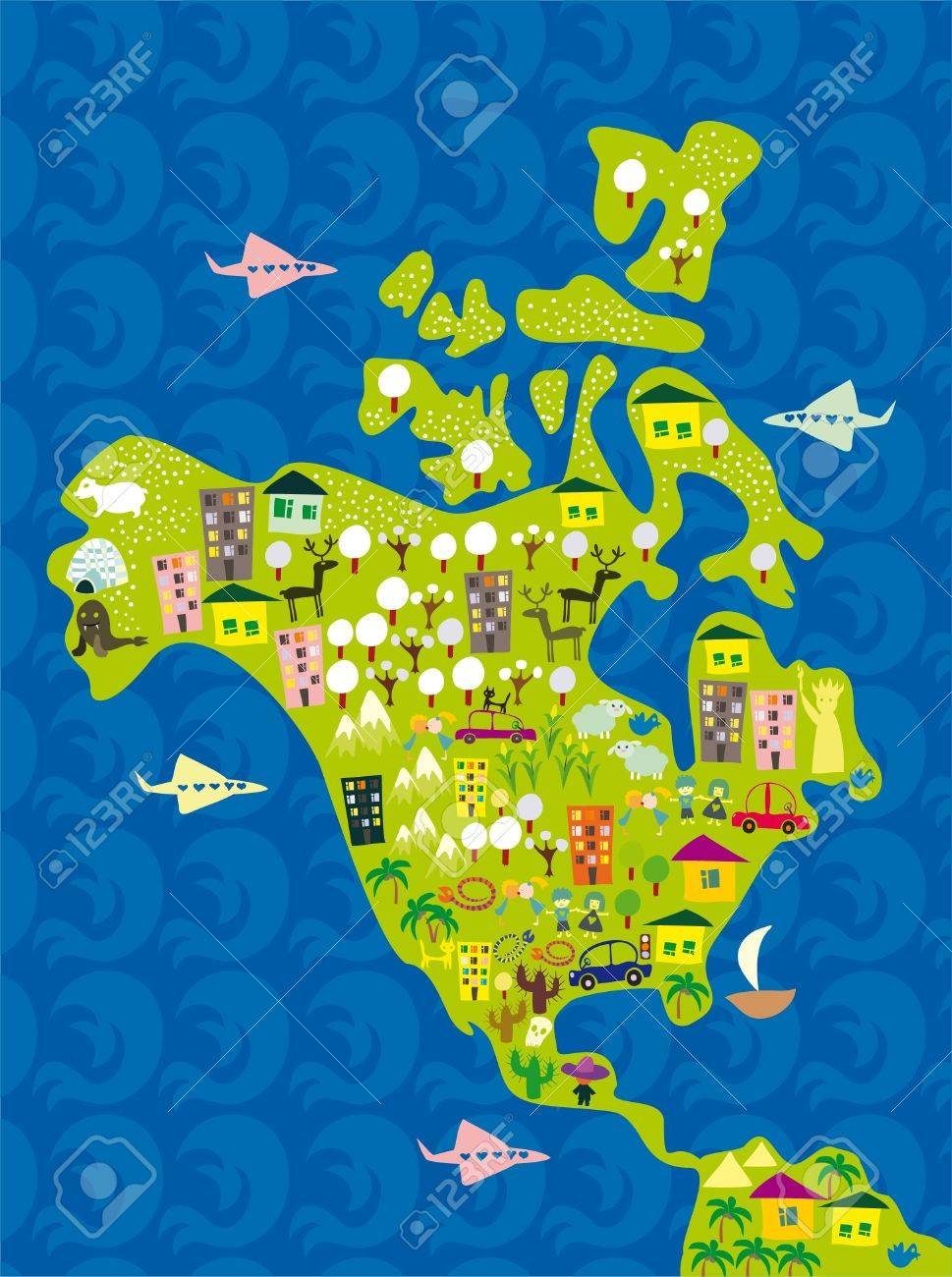 Cartoon Map Of Usa Royalty Free Cliparts Vectors And Stock - Images for map of usa