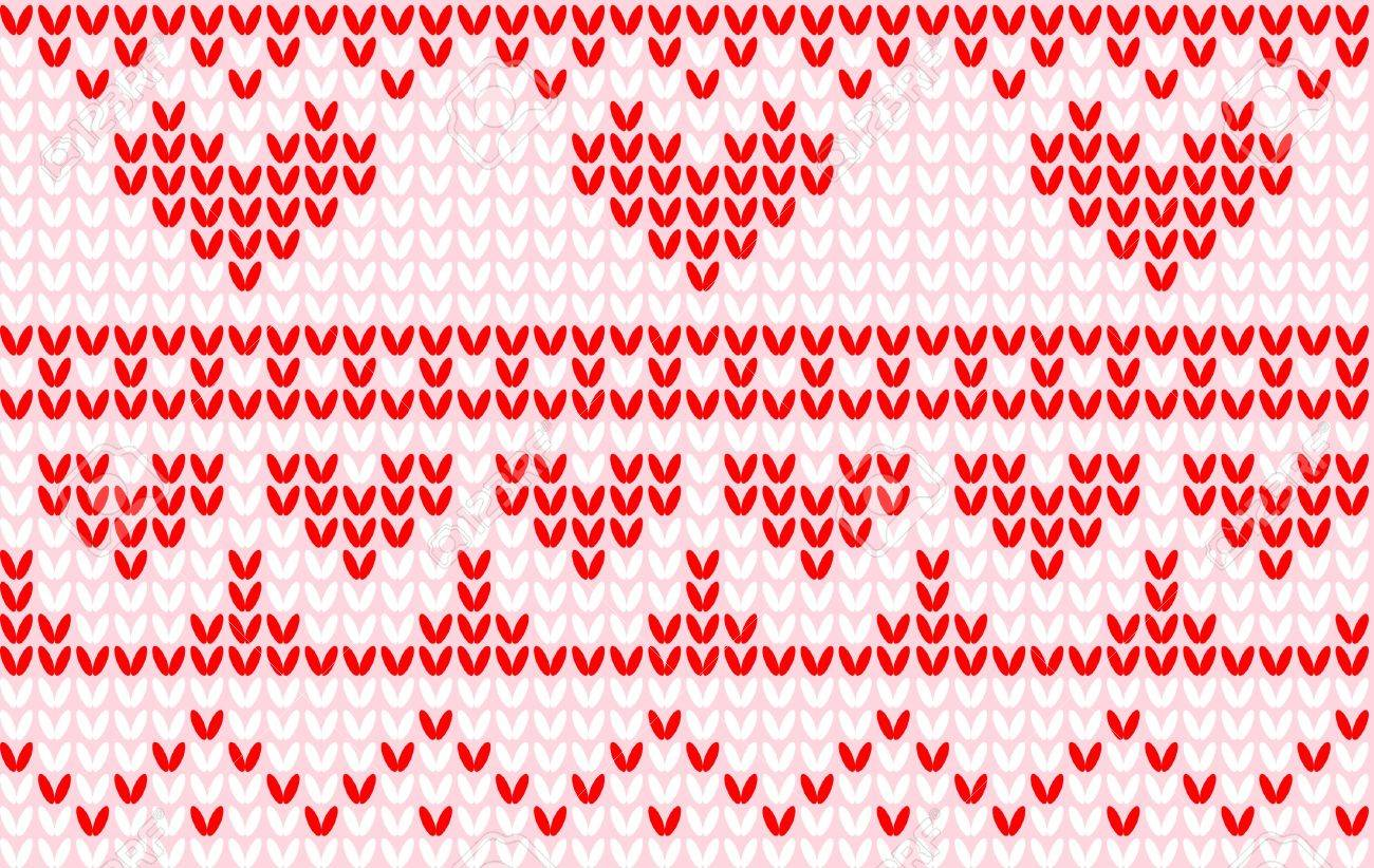 Seamless Knit Heart Pattern Royalty Free Cliparts, Vectors, And ...