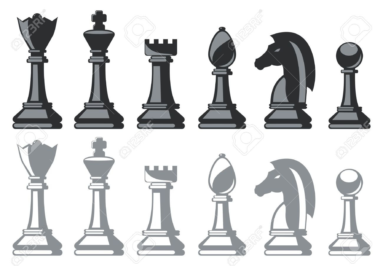 black and white chess pieces isolated on white Stock Vector - 11659057