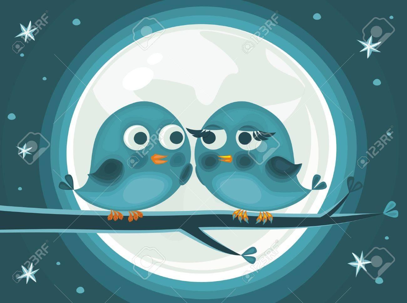 cute love birds against the moon Stock Vector - 11780528