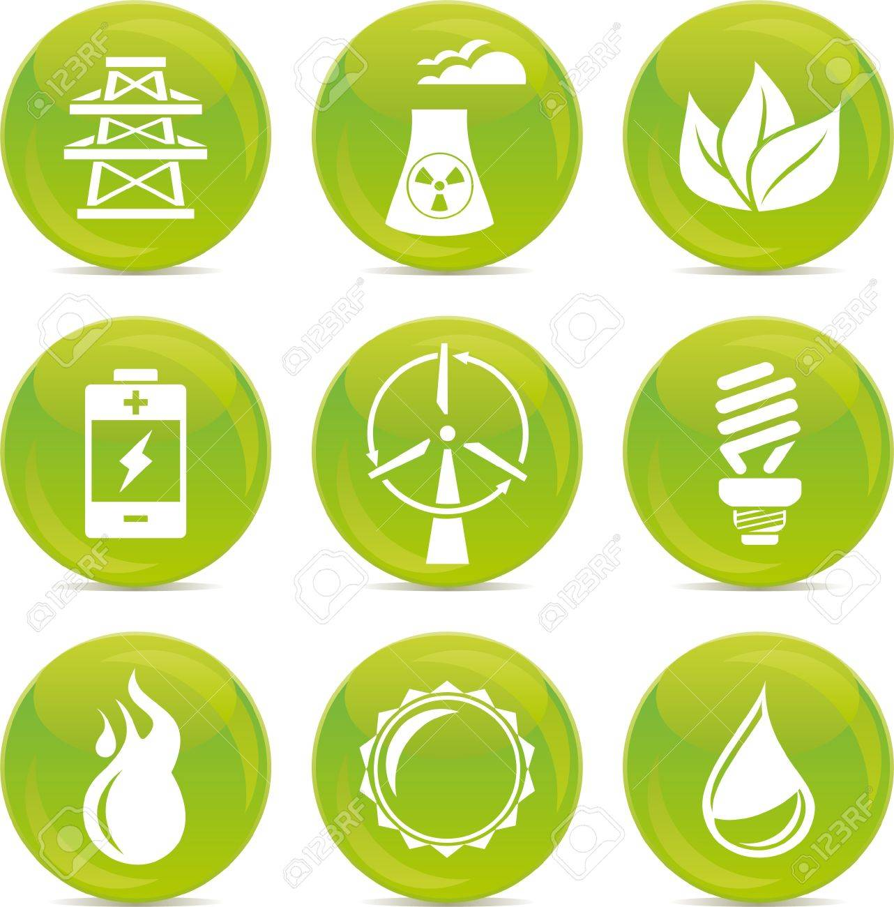 energy glossy icons Stock Vector - 11972554