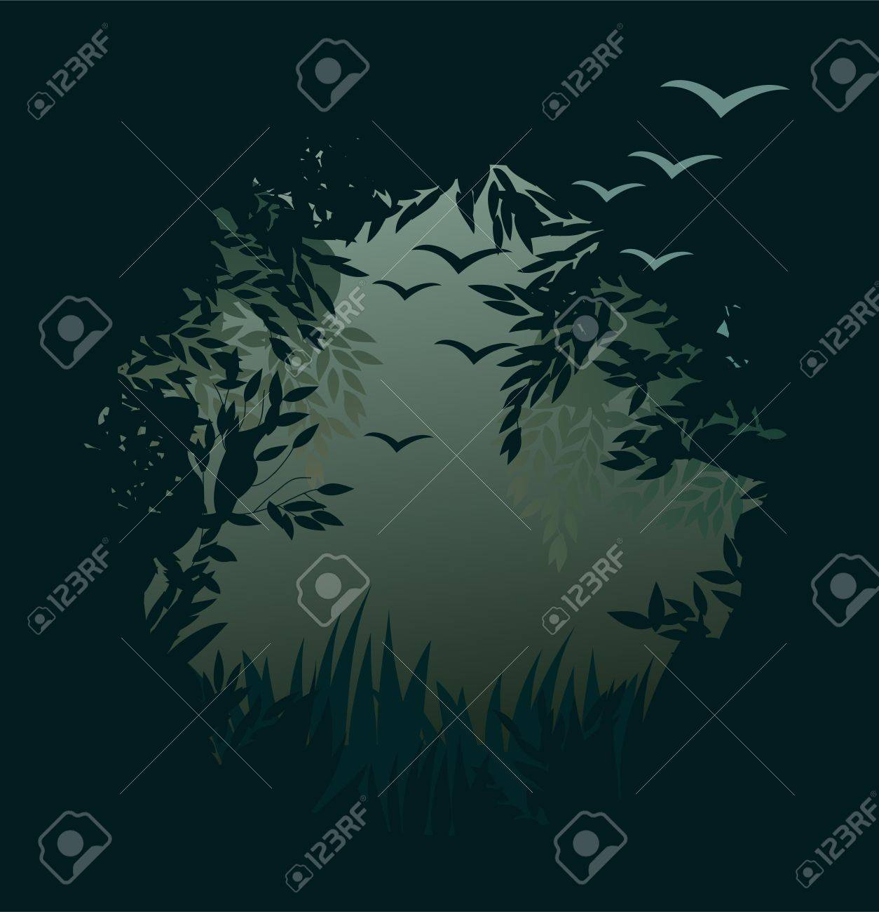 Misty forest background Stock Vector - 11898397