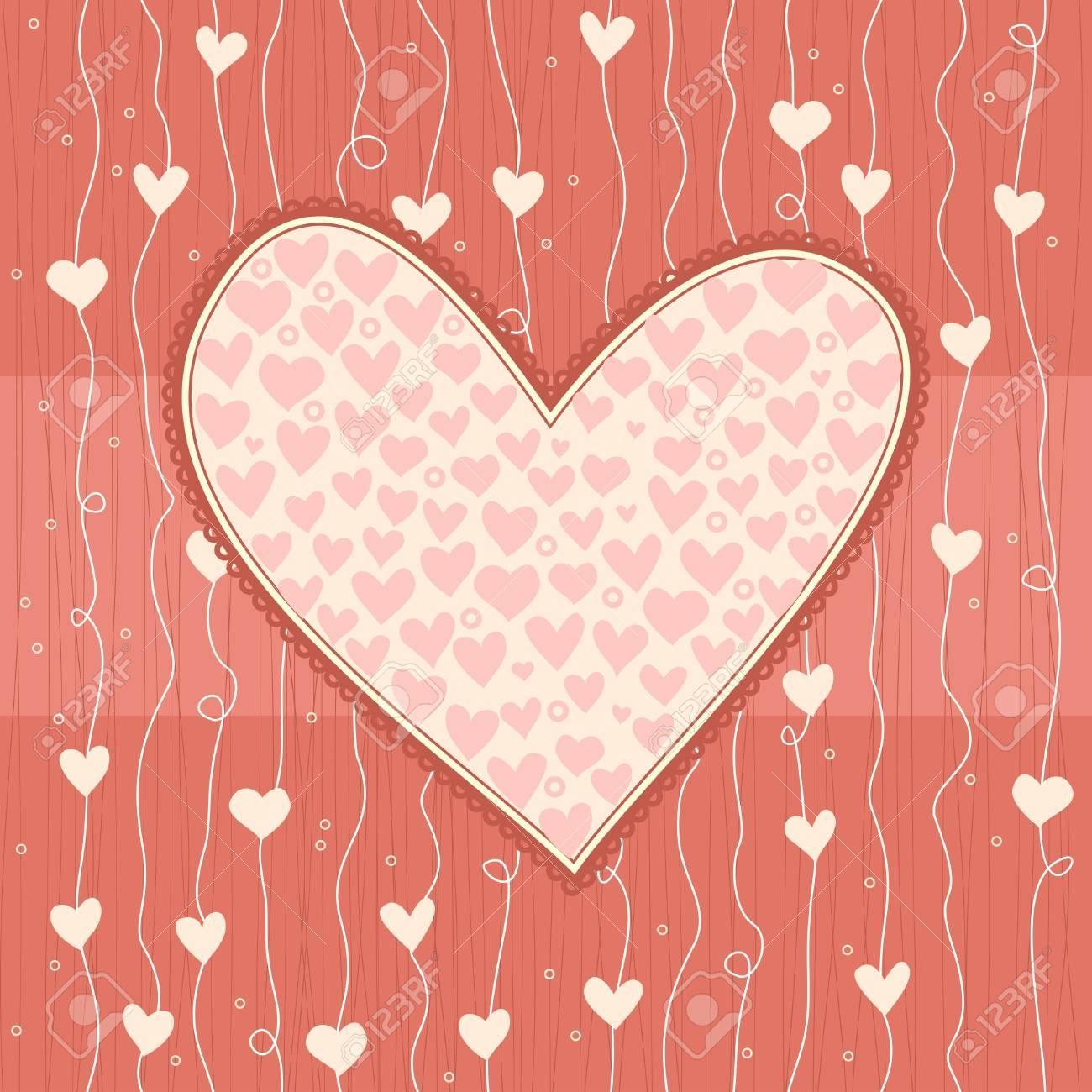 heart banner on love seamless background Stock Vector - 12373968