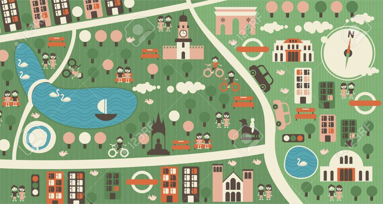 Cartoon Map Of Hyde Park London Royalty Free Cliparts Vectors And