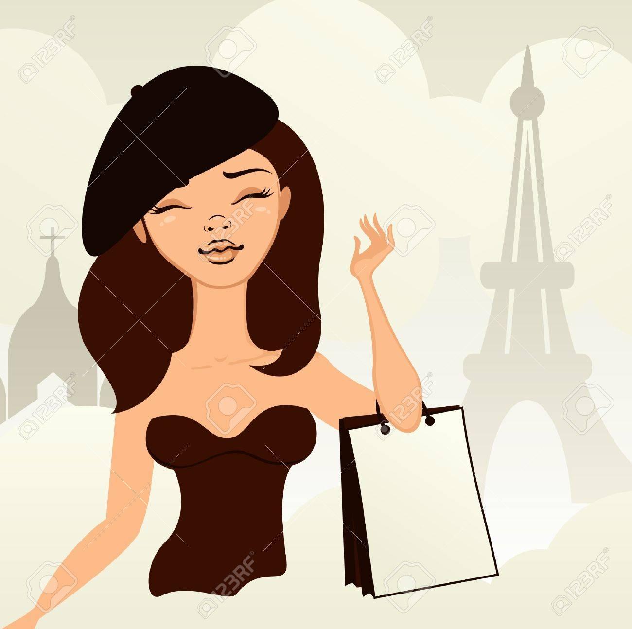 girl shopping in paris Stock Vector - 13576864