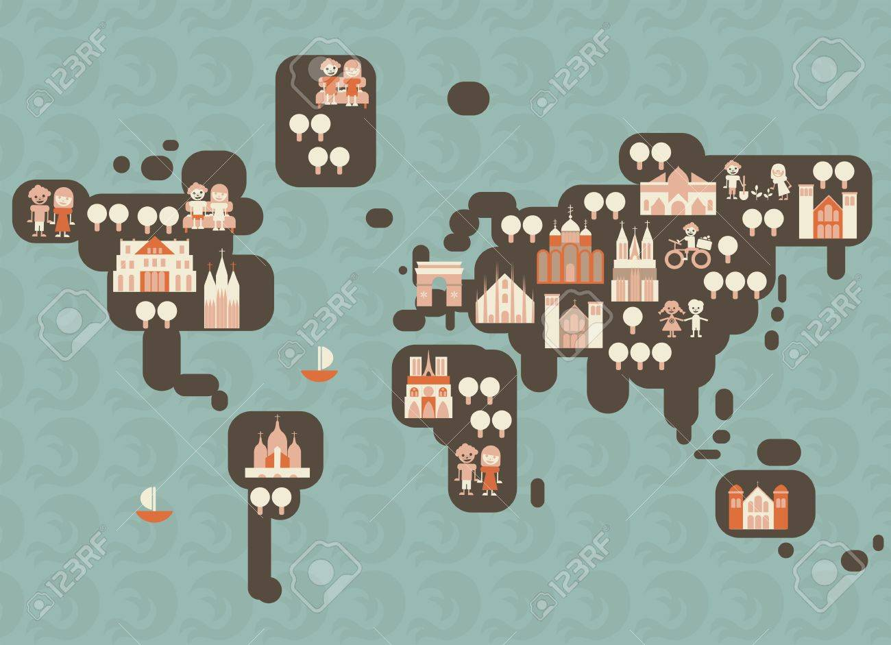 funky cartoon map of the world royalty free cliparts vectors and stock illustration image 13576890 funky cartoon map of the world