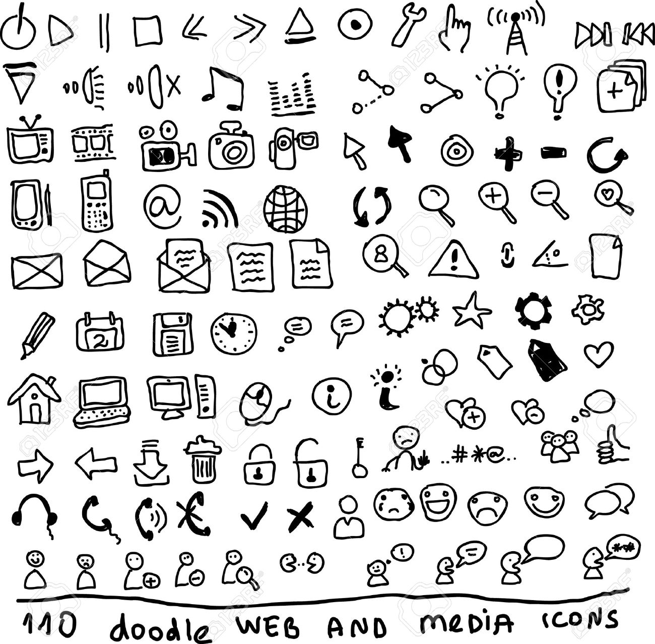 110 doodle web media and social media icons Stock Vector - 14987617