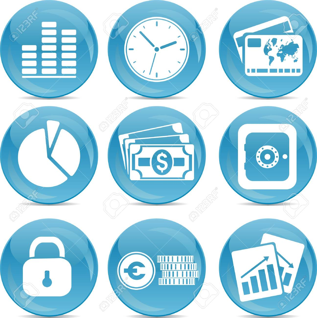 blue ball business icons Stock Vector - 14987656