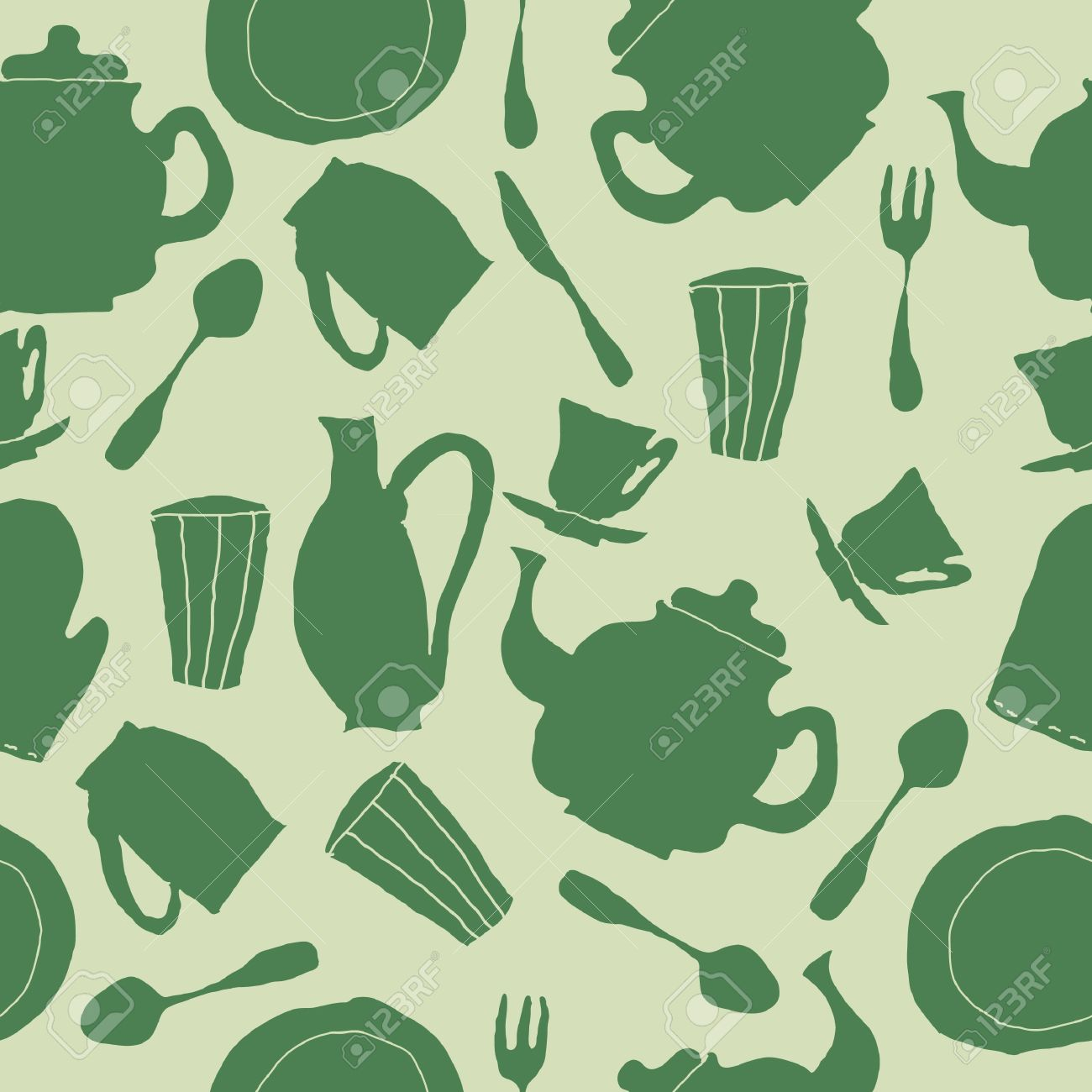 Kitchen wallpaper retro - Seamless Kitchen Glasses Teapots Forks And Spoons In Funky Retro Style Stock Vector