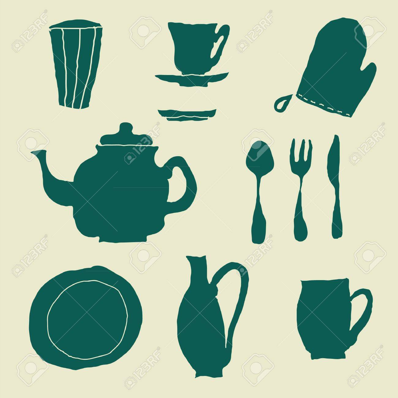 isolated doodle kitchen stuff royalty free cliparts vectors and