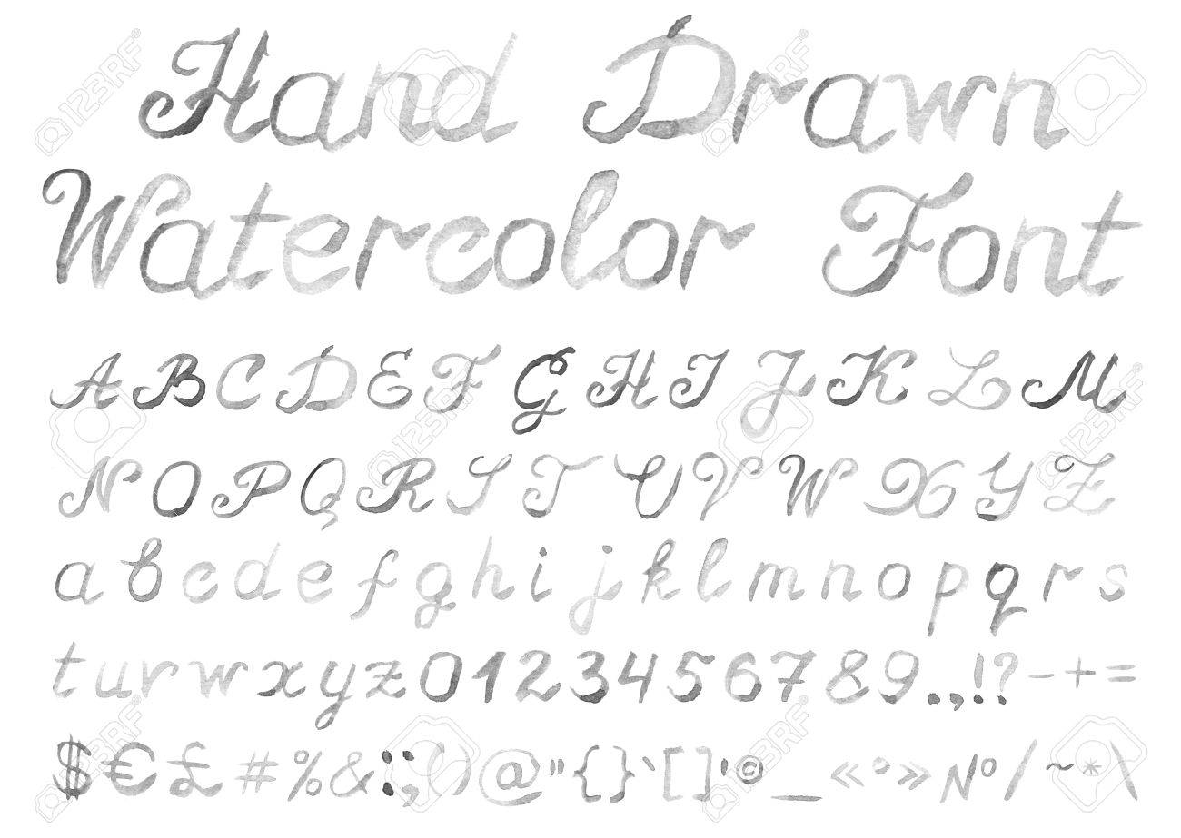 Hand drawn watercolor alphabet handwritten grey font isolated on hand drawn watercolor alphabet handwritten grey font isolated on white background contains uppercase and biocorpaavc
