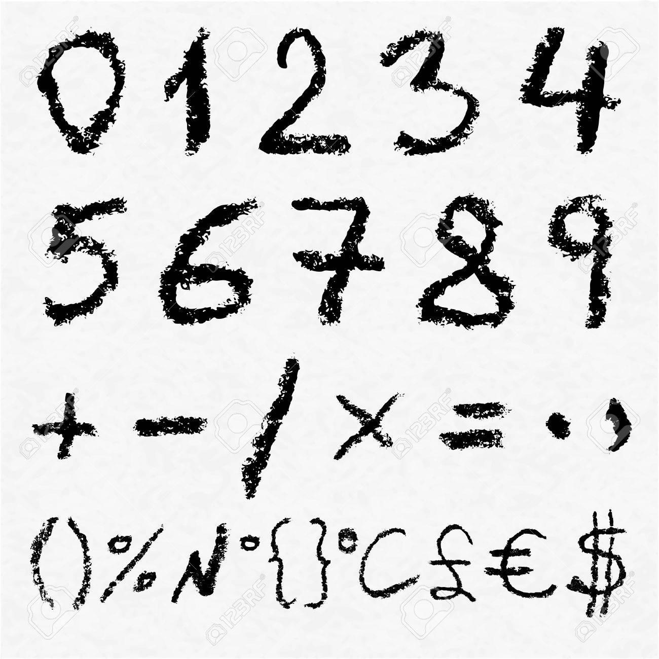 Numbers set thin line monogram math symbols, linear black and ...