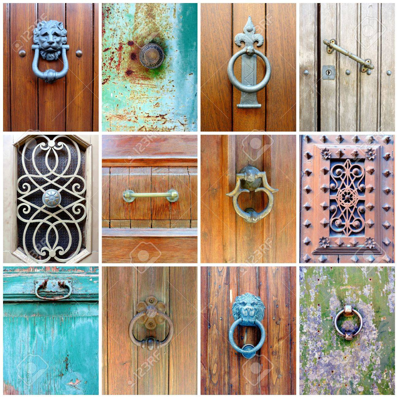 Colección De 12 Pomos De Las Puertas Antiguas Y Ornamentos Decorativos De La Puerta Elementos De Madera Y Metálicas De Las Puertas De La Ciudad