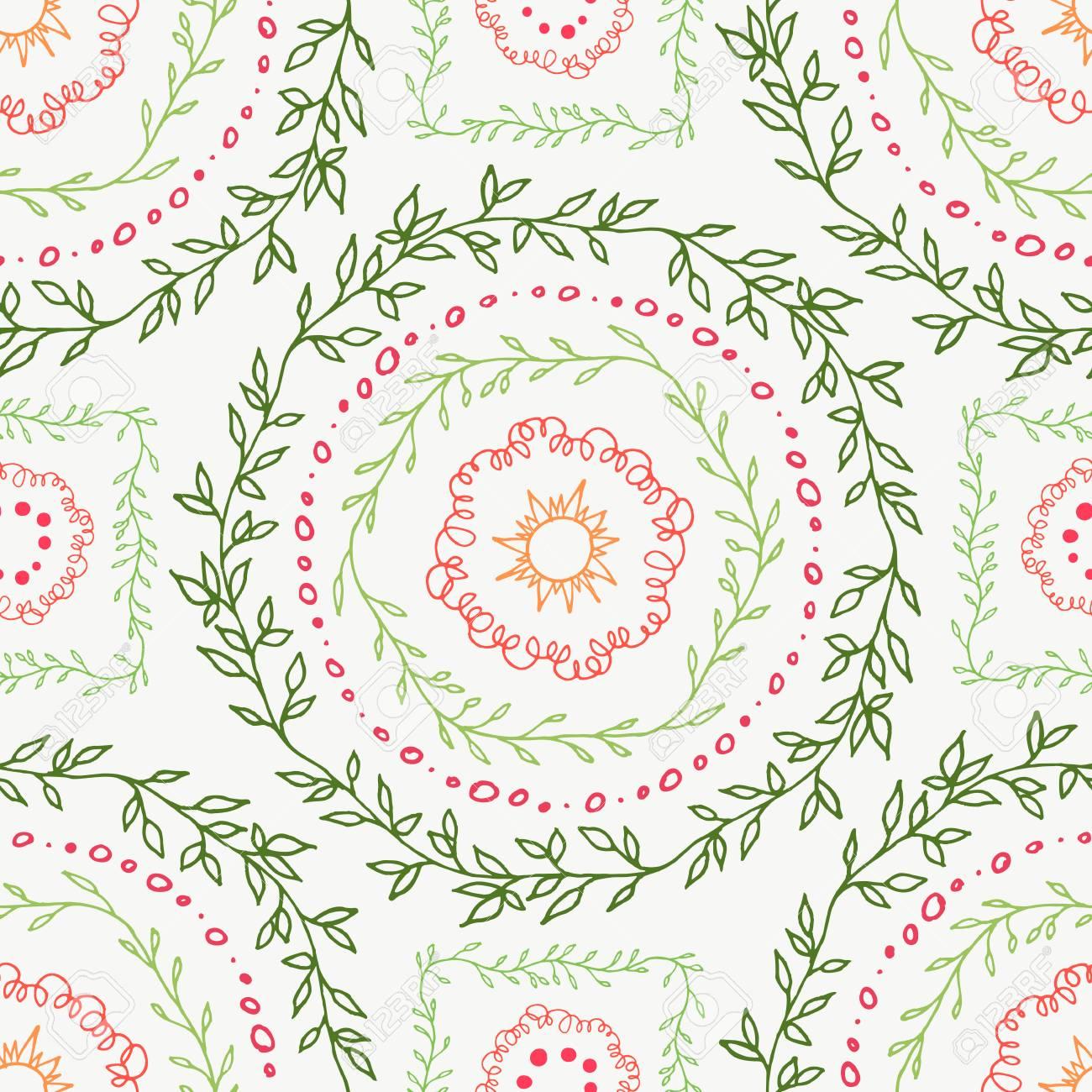 Decorative Boho Seamless Pattern Endless Print With Green Pink
