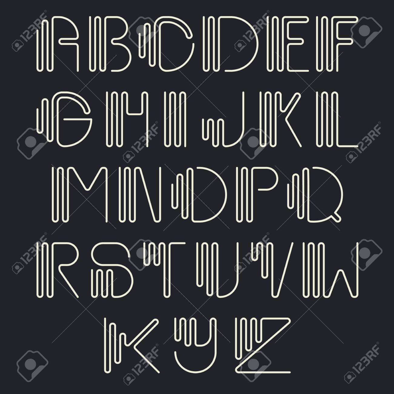Original Curved Latin Alphabet Set Linear Uppercase Modern Font Typeface English Thin White