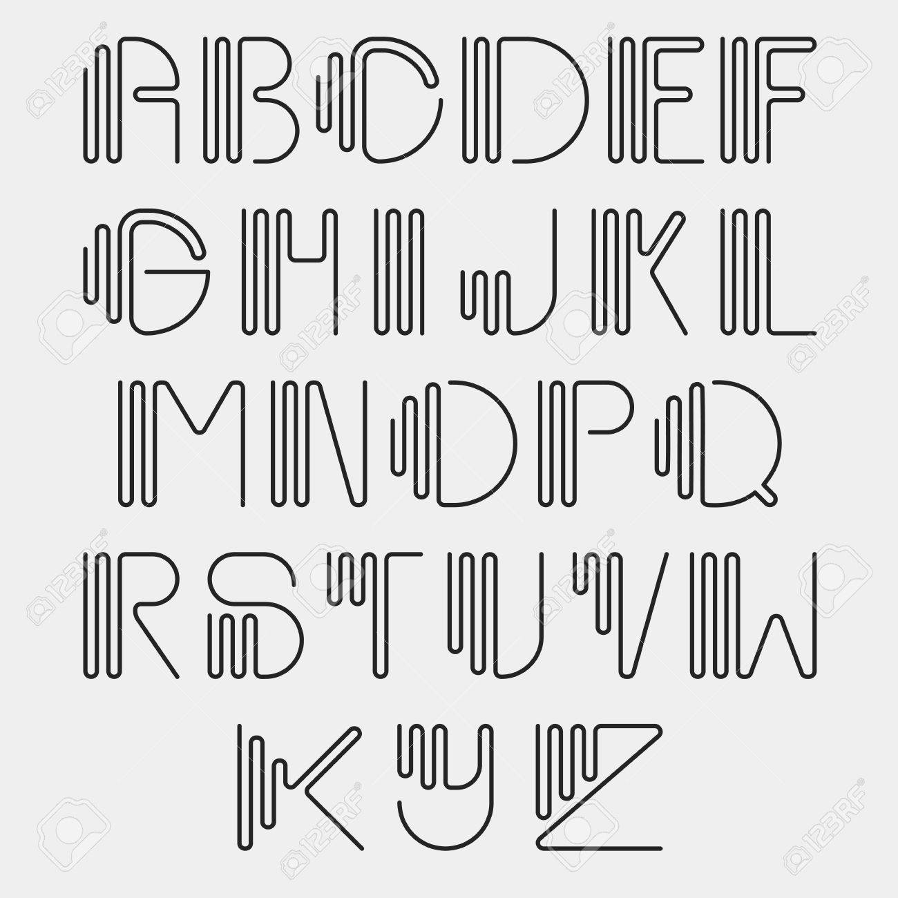 Original Curved Latin Alphabet Set Linear Uppercase Modern Font Typeface English Thin Black