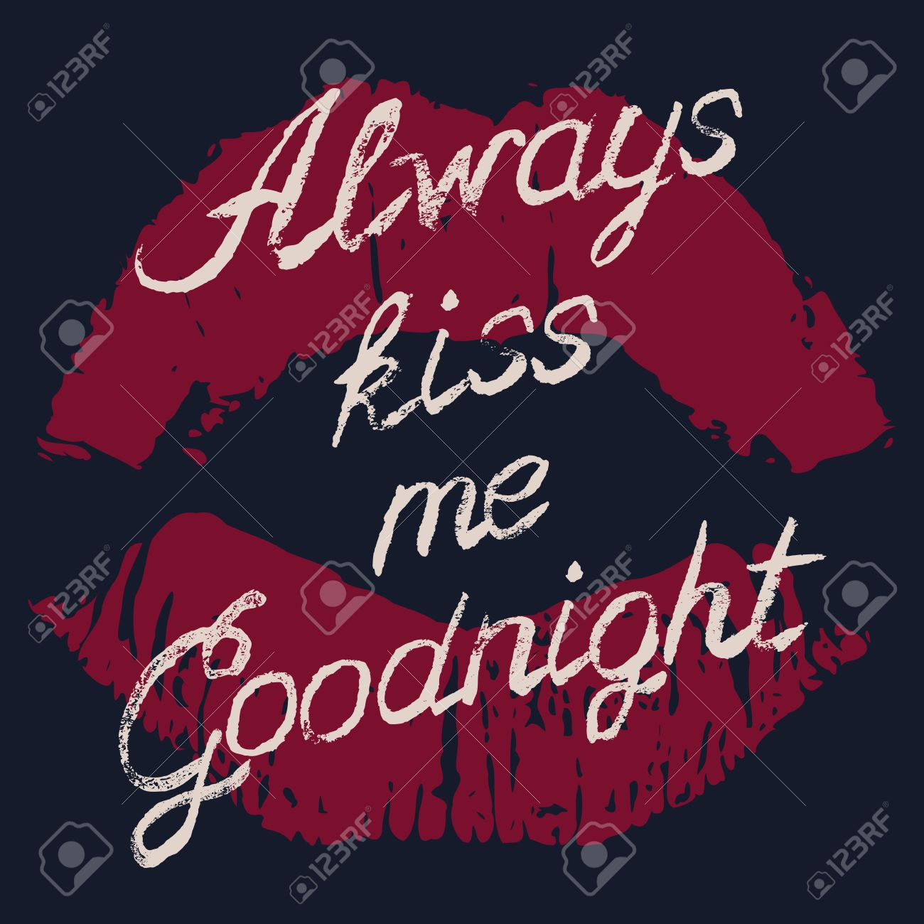 Romantic Typography Poster Always Kiss Me Goodnight Stylish