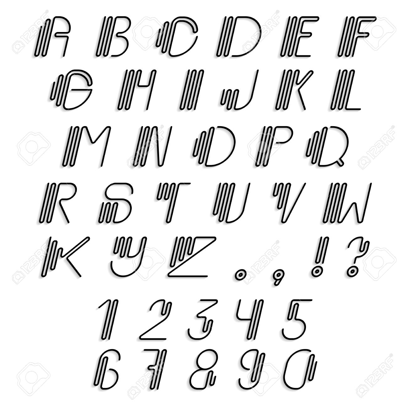 Linear Italic Uppercase Numerals And Punctuations Modern Font