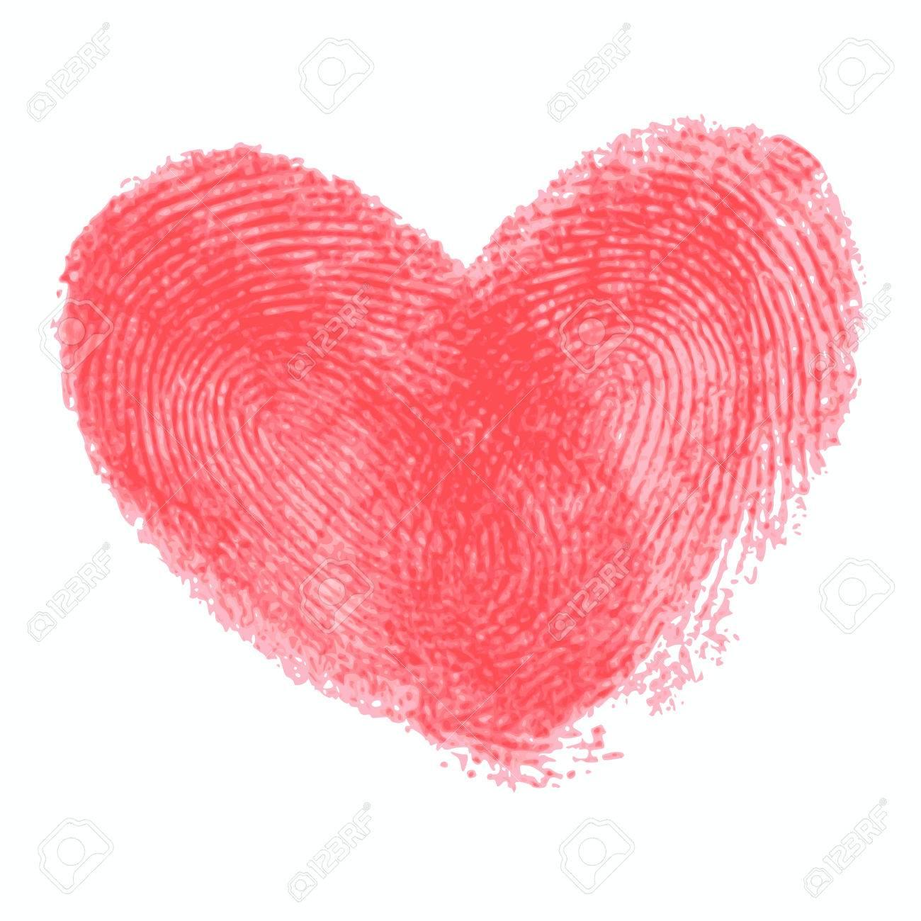 Creative Poster Mit Doppel Fingerabdruck Herz Red Realistische