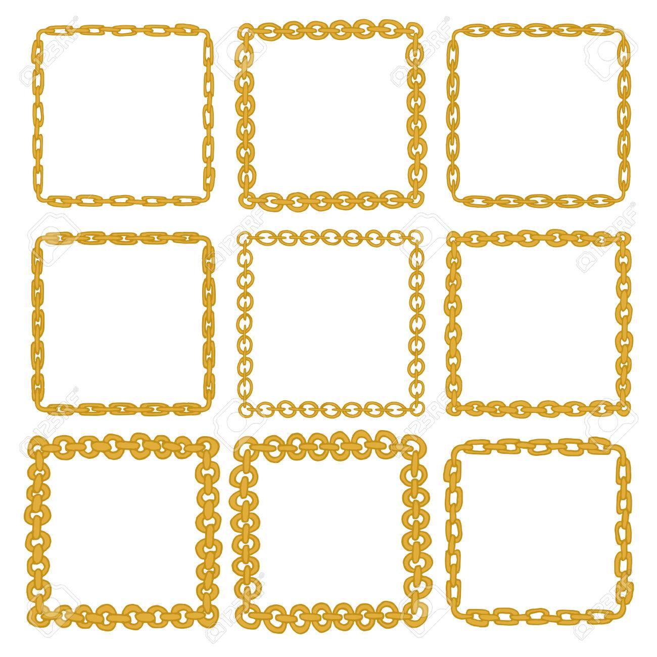 Set Von 9 Dekorativen Quadratischen Goldgrenze Rahmen. Goldene ...