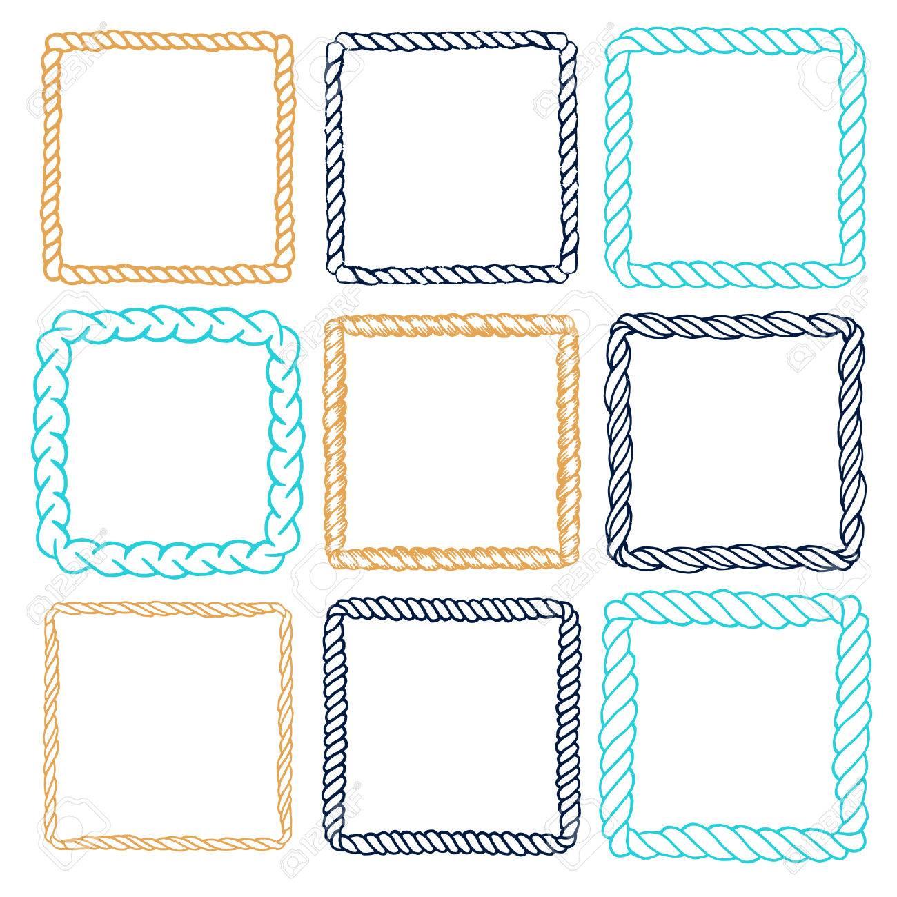 Set Von 9 Dekorative Quadrat Grenze Rahmen. Quadratische Rahmen ...