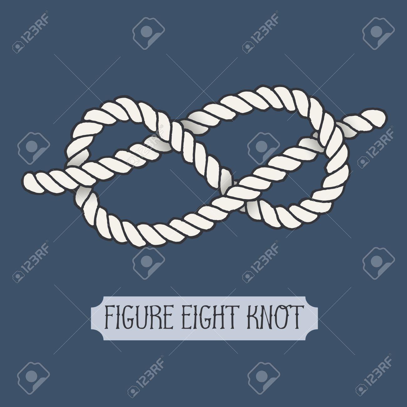 55dd019c8fca7 Single illustration of nautical knot. Figure Eight Knot. Sailor..