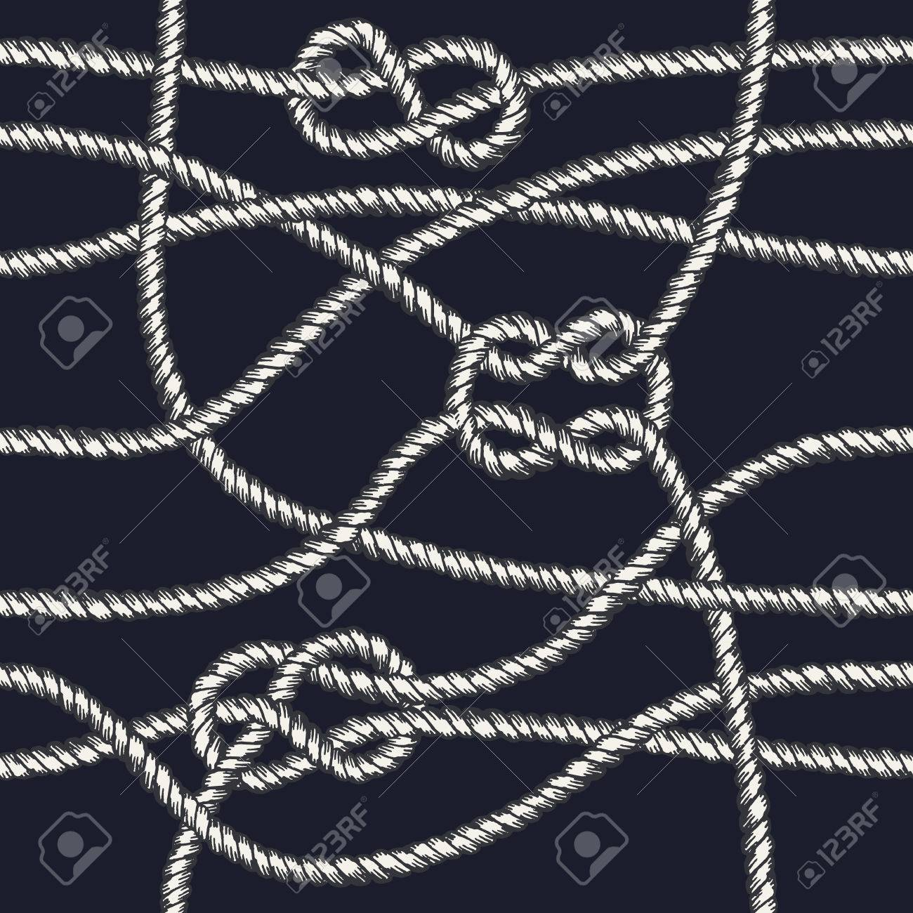 Marine Rope Knot Seamless Pattern Endless Navy Illustration With Square Diagram White Ornament And Nautical Knots