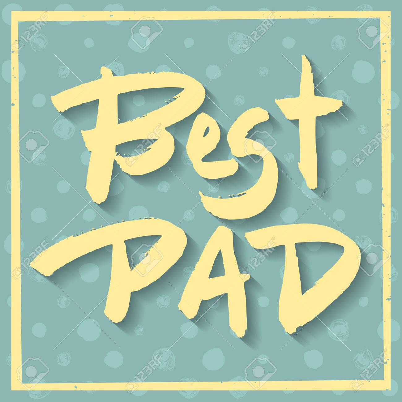 Happy Fathers Day Greeting Card Best Dad Phrase Yellow Ink