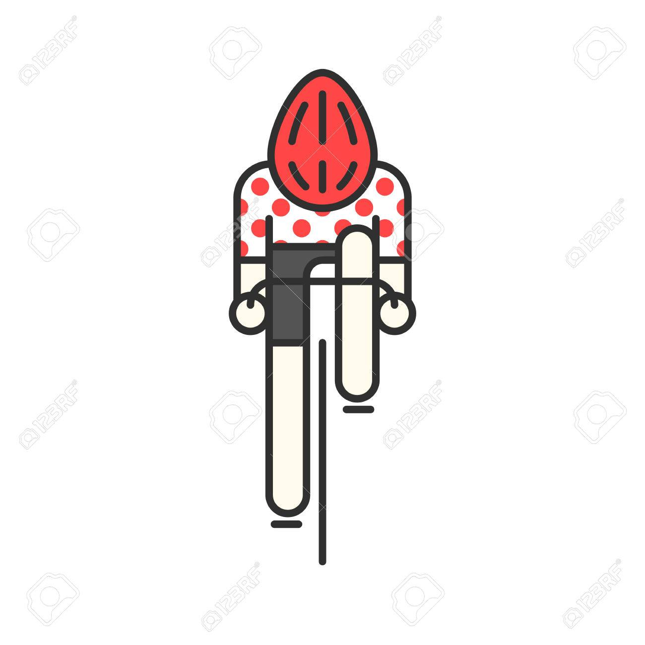 59c29dcf6 Modern Illustration of cyclist. Flat bicyclist in red polka dot jersey  isolated on white background