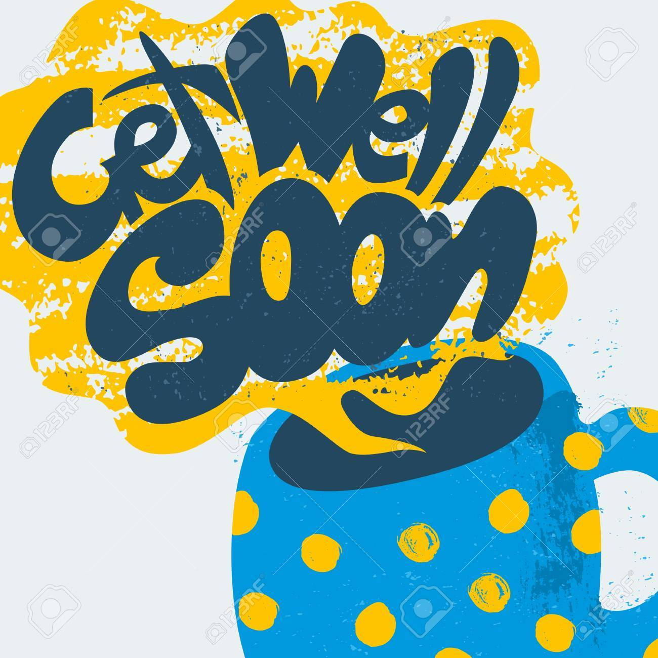 get well soon decorative card hand drawn poster with polka dot