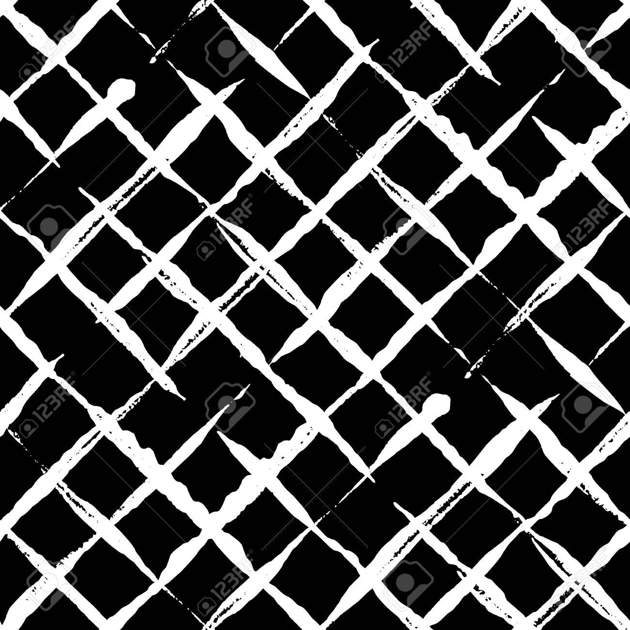 Trendy handdrawn checkered seamless pattern. - 104707896