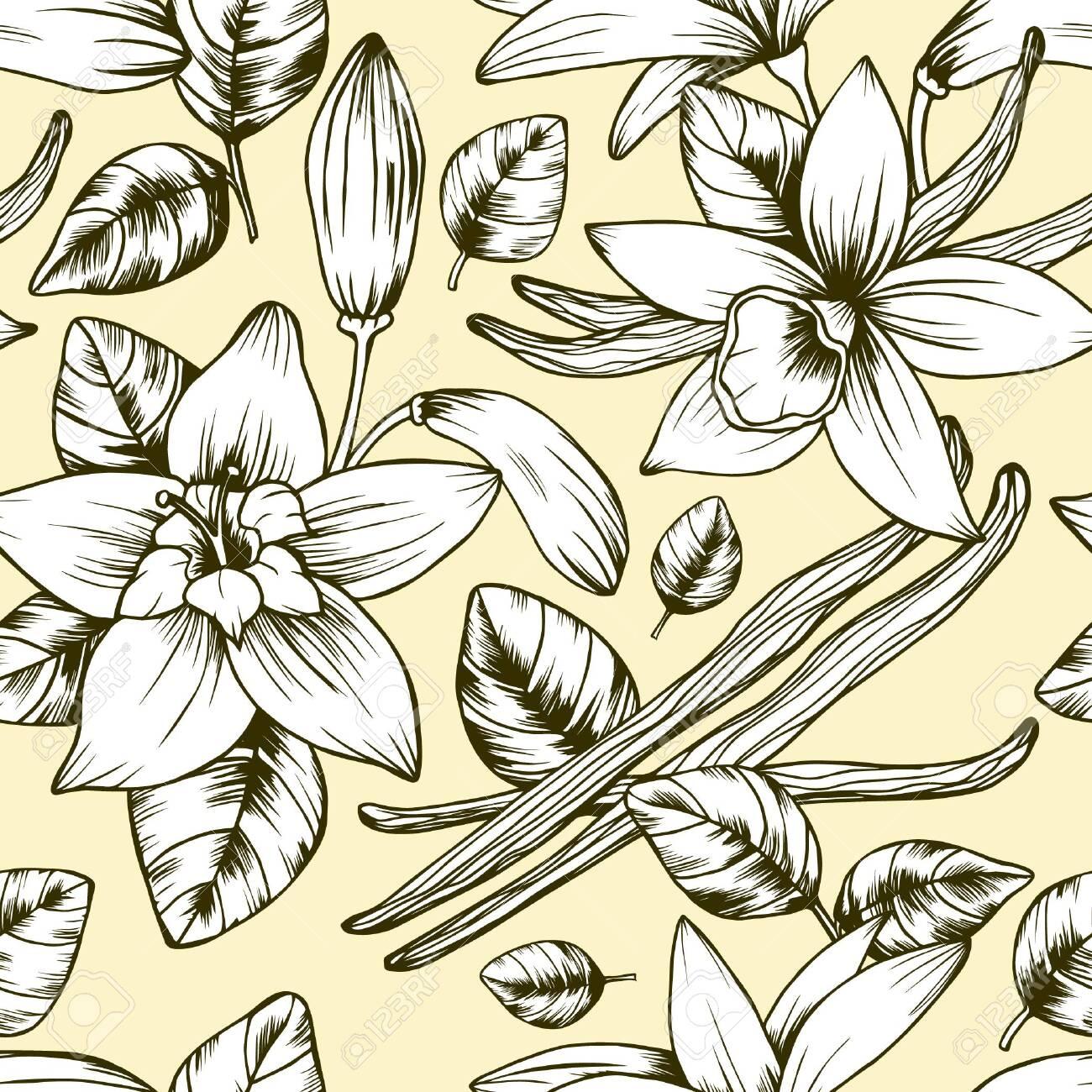 Seamless vector vintage floral pattern - 134202941