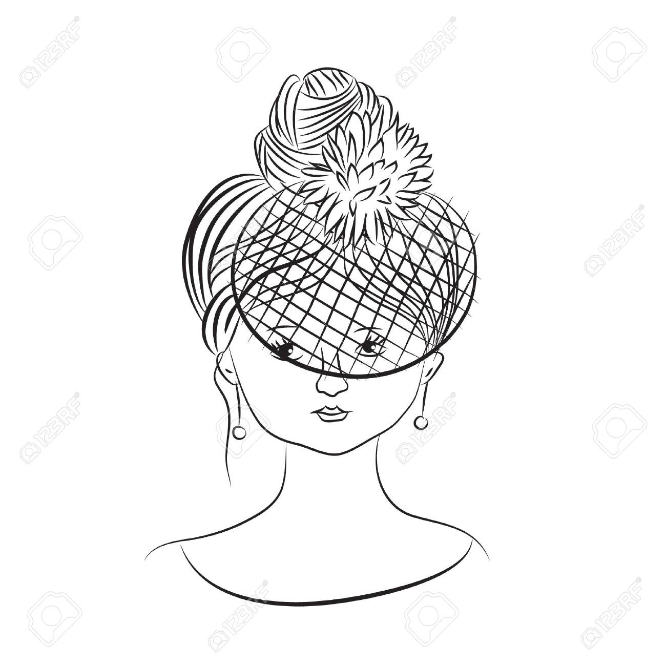 Hand drawn vector lady in veil - 134724501