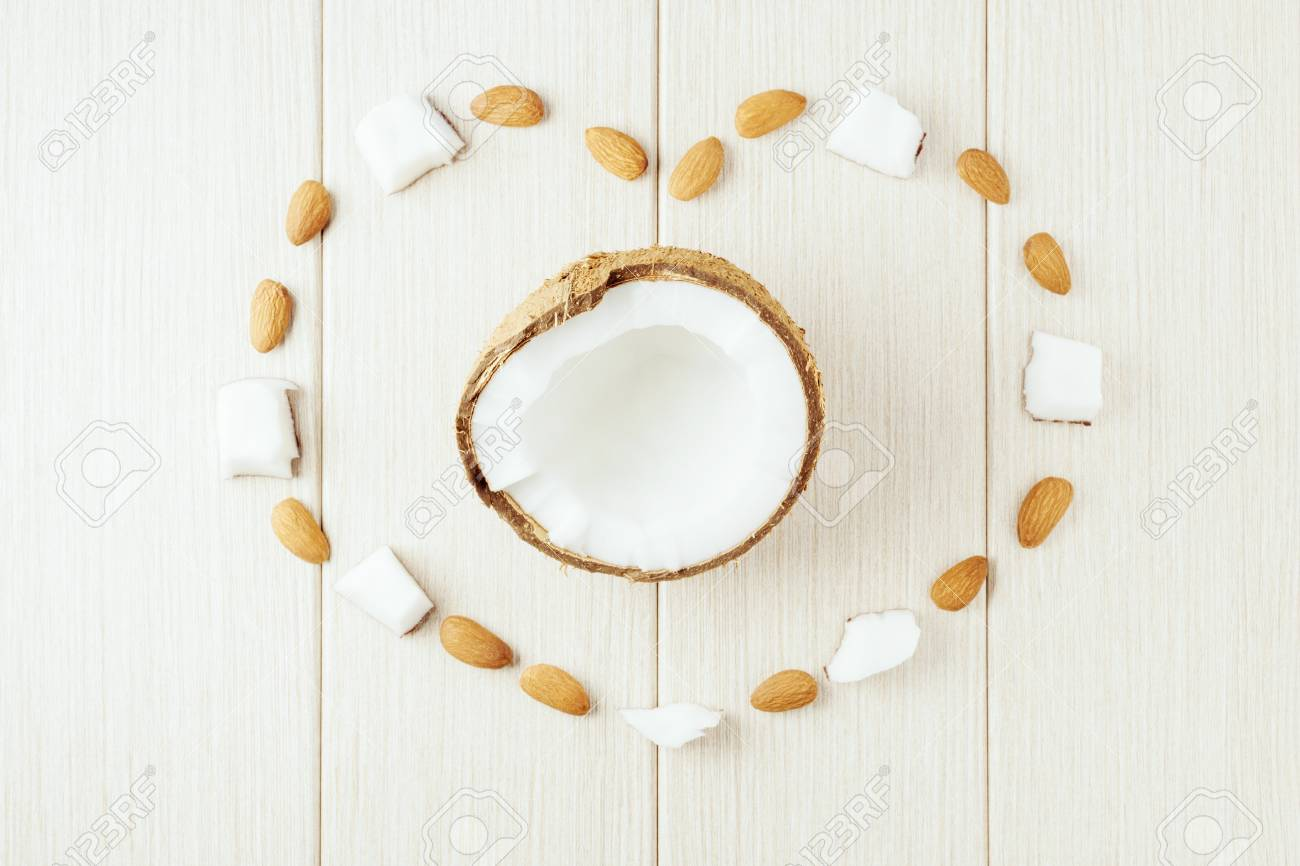 Composition with coconut and almonds. Beautiful background. - 112033058