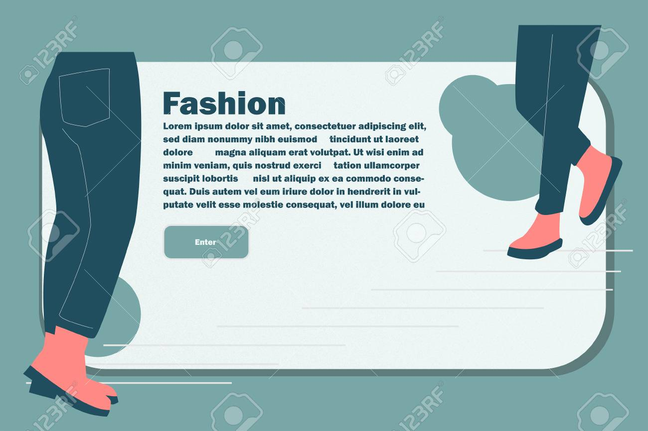 Website Layout with Flat People Legs. Easy to Edit and Customize. Vector illustration - 116643521