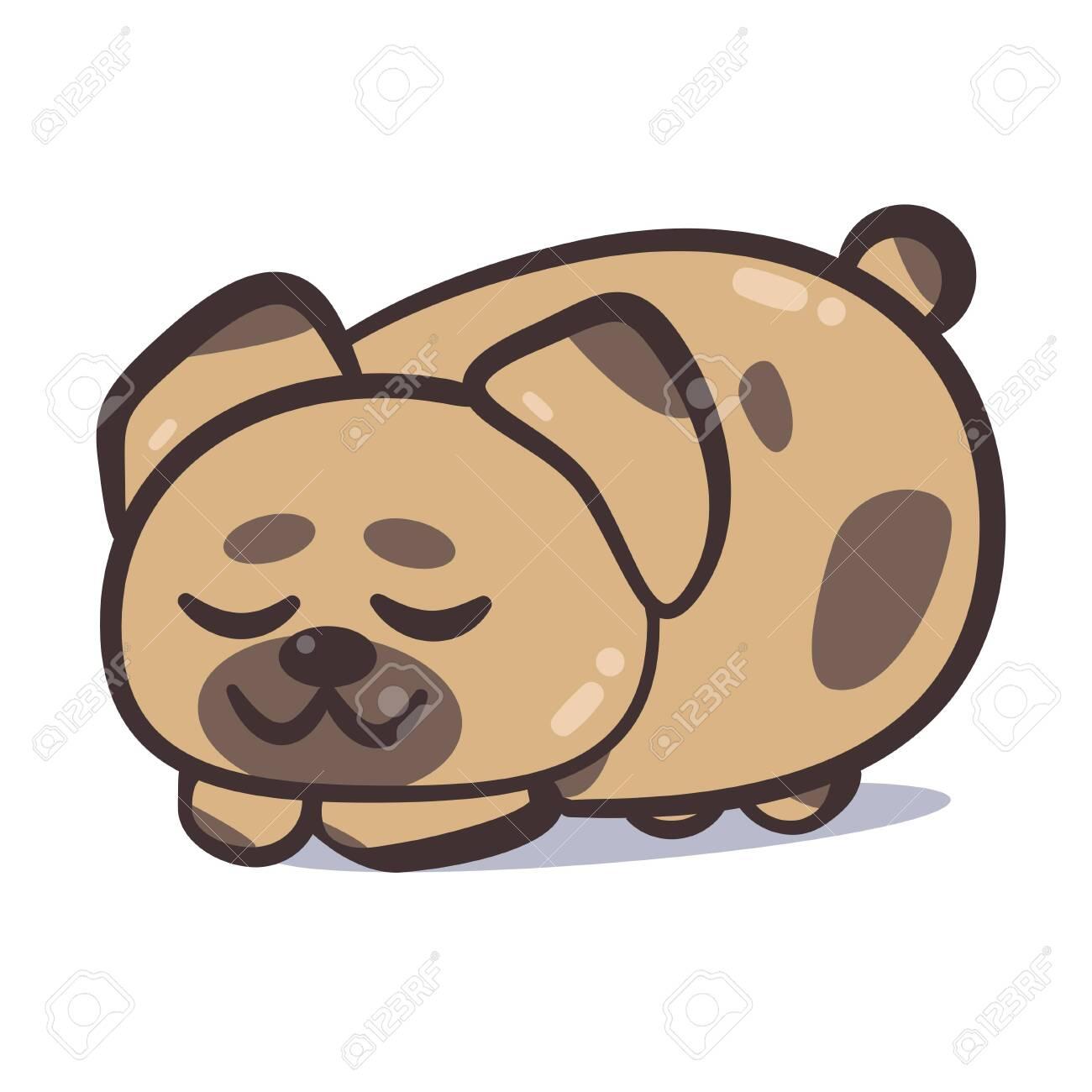 Happy dog sleeping on white - 133806028