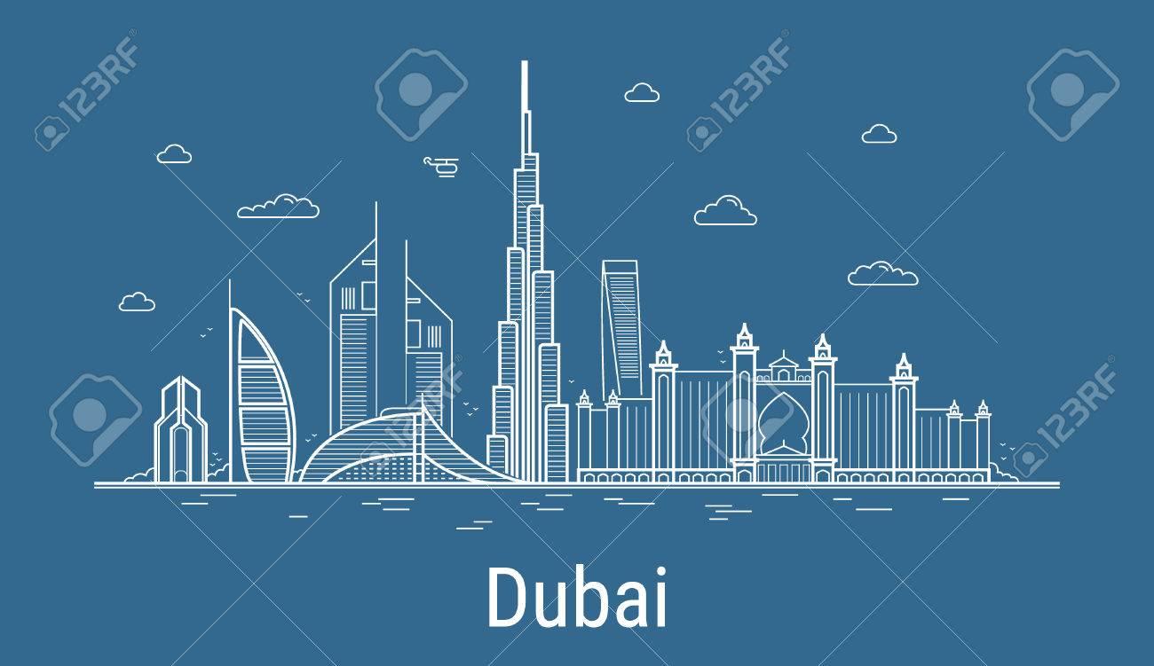 Line Art City : Dubai city line art vector illustration with all famous towers
