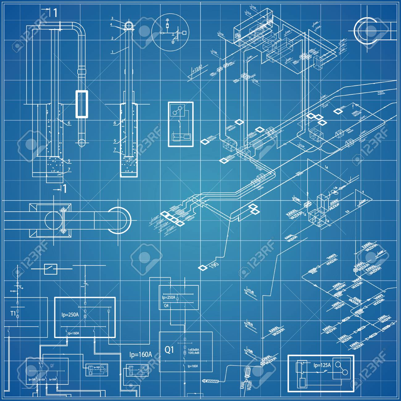vector blueprint with electrical stock vector - 74397440