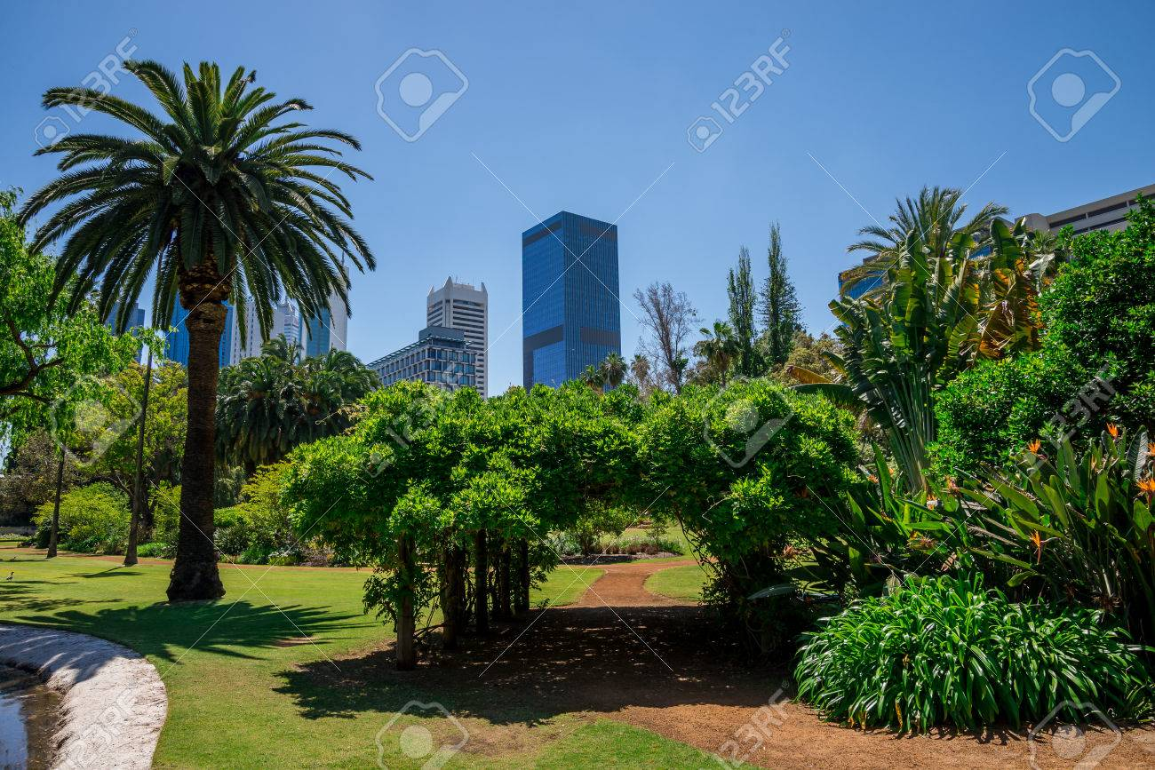 A View To Perth City From Government House Landscaped Gardens, Western  Australia Stock Photo